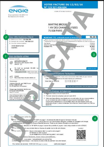 Duplicata d'une facture ENGIE
