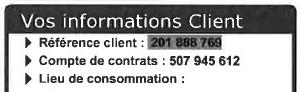Encart vos informations client
