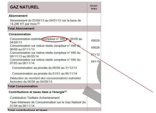 Récapitulatif d'une facture de gaz naturel